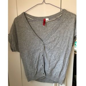Grey short sleeve cardigan